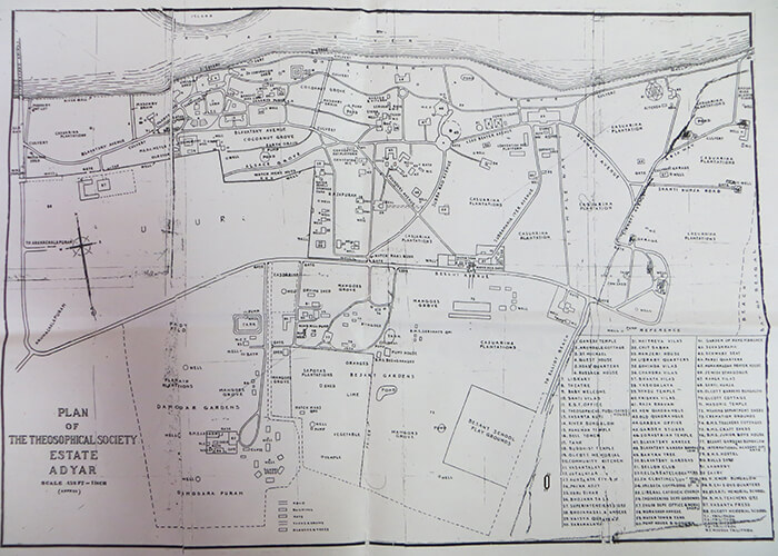 A map of the Adyar Estate
